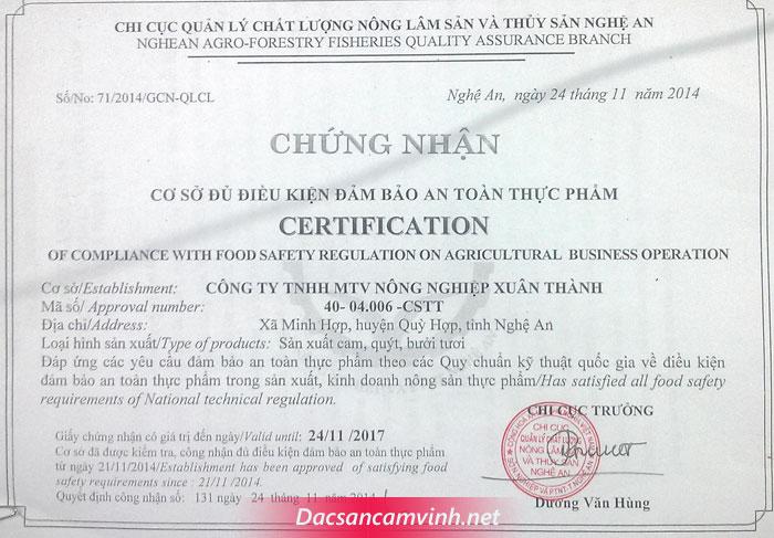Chứng nhận Cam Vinh an toàn thực phẩm